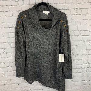 NWT New York Laundry Gray Asymmetric Sweater
